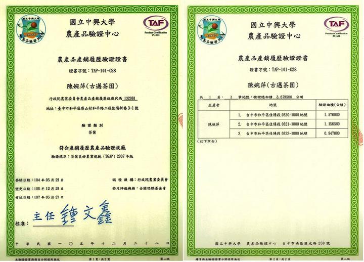 農產品產銷履歷證書